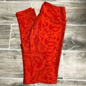 LuLaRoe Orange Music Instrument Pattern Leggings